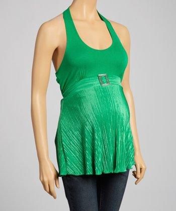 QT Maternity Green Embellished Maternity Halter Top - Women