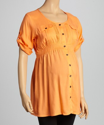 Tangerine Pocket Maternity Button-Up Tunic