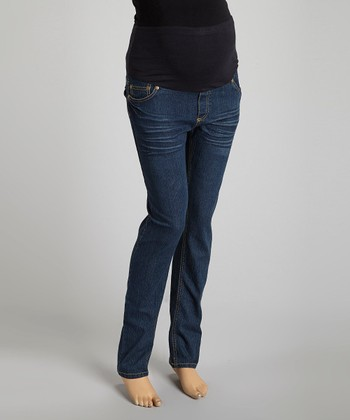 Blue Whisker Over-Belly Maternity Skinny Jeans