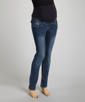 Dark Wash Over-Belly Back Flap Maternity Jeans