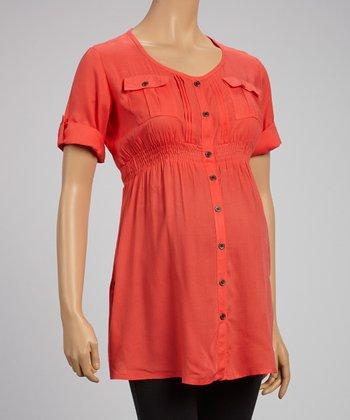 Oh! Mamma Cayenne Button-Up Maternity Tunic - Women