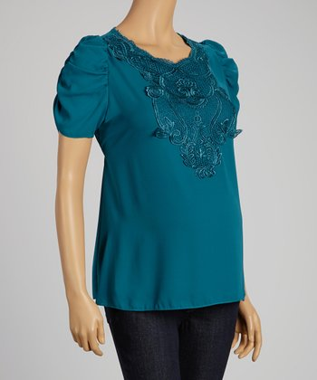 QT Maternity Teal Lace Maternity Puff-Sleeve Top - Women