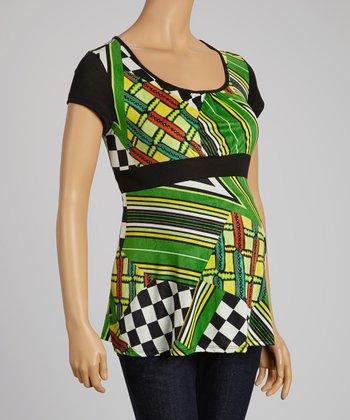 QT Maternity Green & Black Status Maternity Empire-Waist Top - Women