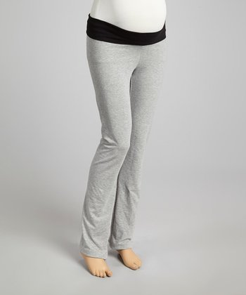 Gray & Black Fold-Over Maternity Yoga Pants - Women