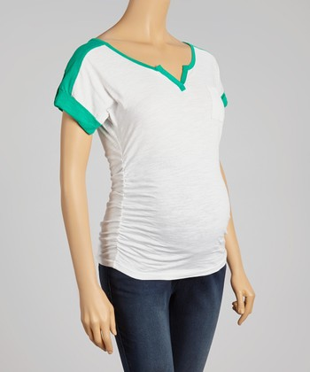 Oh! Mamma Emerald & White Ruched Maternity Top