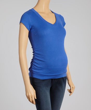 Oh! Mamma Dazzling Blue Ruched Maternity V-Neck Top
