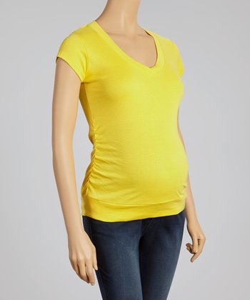 Oh! Mamma Yellow Ruched Maternity V-Neck Top