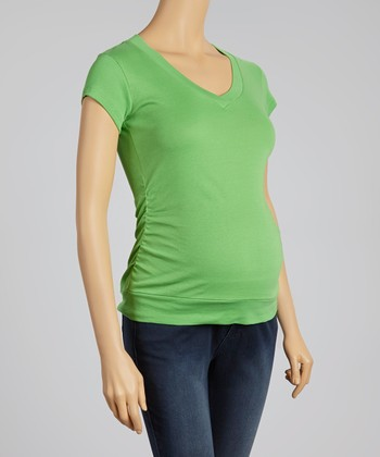 Oh! Mamma Kelly Green Ruched Maternity V-Neck Top