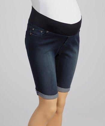 Oh! Mamma Medium Wash Under-Belly Maternity Denim Bermuda Shorts
