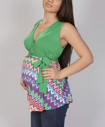 Green Zigzag Tie Maternity Surplice Top