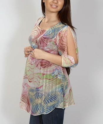 Fiory Naz Pink & Green Floral Maternity Scoop Neck Top