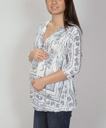 Fiory Naz Gray Abstract Maternity V-Neck Top