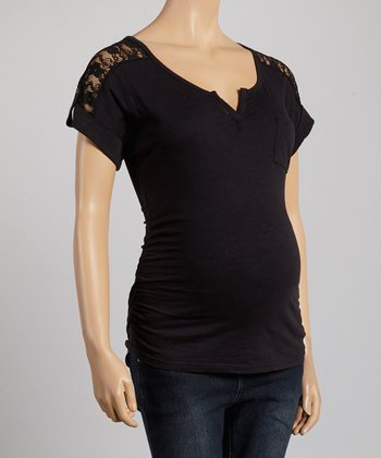 Oh! Mamma Black Ruched Sheer Lace-Panel Maternity Tee - Women