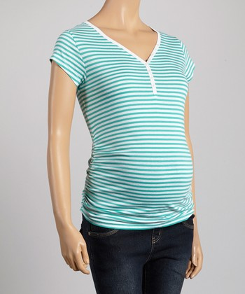 Oh! Mamma Blue & Green Stripe Ruched Maternity Tee - Women