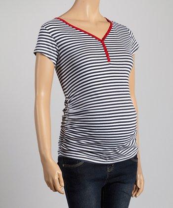 Oh! Mamma Navy & White Stripe Ruched Maternity Tee - Women