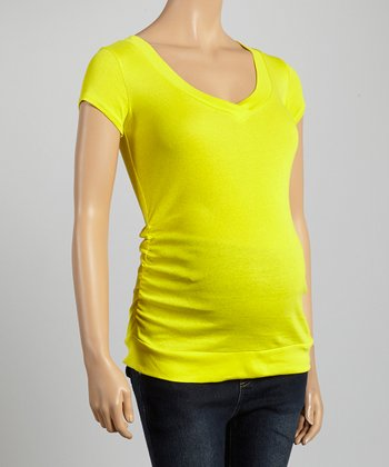 Mom & Co. Yellow Ruched Maternity V-Neck Top - Women
