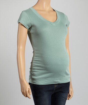 Mom & Co. Mint Ruched Maternity V-Neck Top - Women
