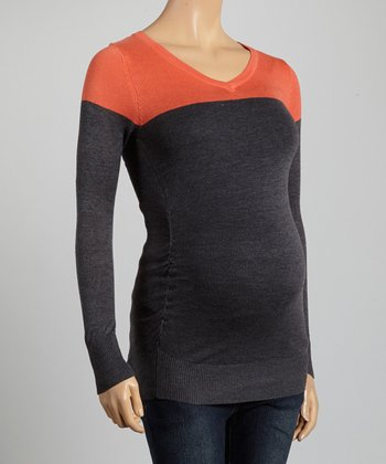 Mom & Co. Coral & Charcoal Color Block Ruched Maternity V-Neck Top - Women