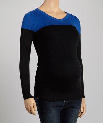 Mom & Co. Cobalt & Black Color Block Ruched Maternity V-Neck Top - Women
