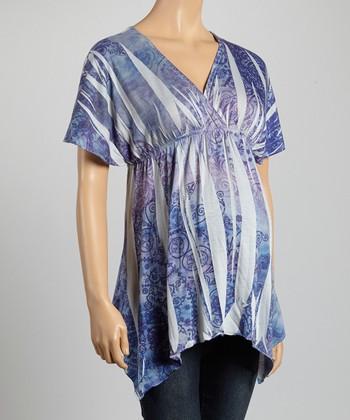 Mom & Co. Gray & Lavender Sublimation Maternity Surplice Top - Women