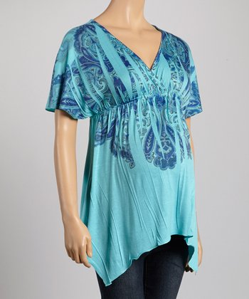 Mom & Co. Teal & Blue Sublimation Maternity Surplice Top - Women