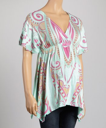 Mom & Co. Mint & Pink Sublimation Maternity Surplice Top - Women