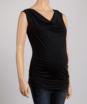 Mom & Co. Black Maternity & Nursing Drape Top - Women & Plus