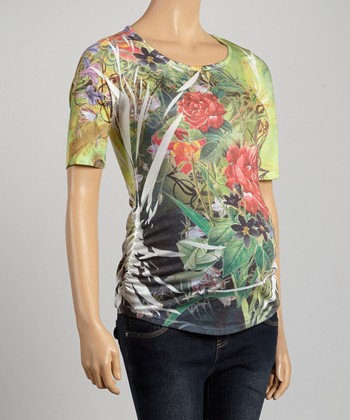 Mom & Co. Green Floral Ruched Sublimation Maternity Top - Women