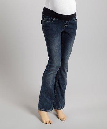 Mom & Co. Dark Wash Denim Over-Belly Maternity Bootcut Jeans - Women