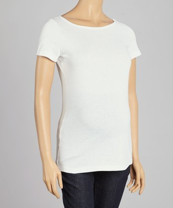 CT Maternity White Maternity Boatneck Top - Women