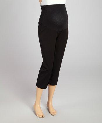 CT Maternity Black Over-Belly Maternity Capri Leggings - Women