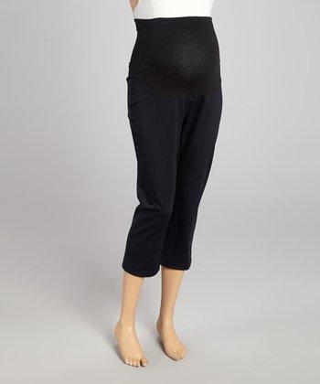 CT Maternity Navy Over-Belly Maternity Capri Leggings - Women