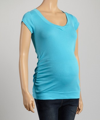 Mom & Co. Teal Ruched Maternity V-Neck Top - Women