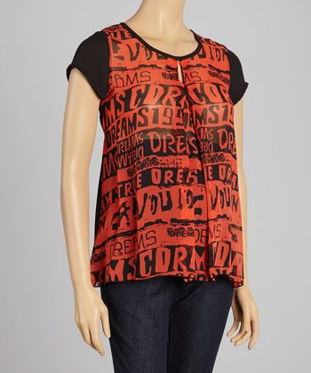 QT Maternity Red & Black Graphic Maternity Top - Women
