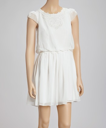 Ivory Crocheted Chiffon Dress
