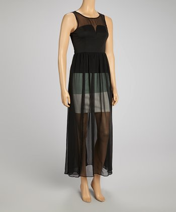 Black Sheer Color Block Maxi Dress