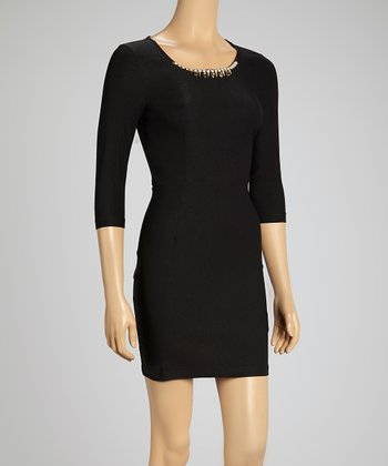 Black Embellished Three-Quarter Sleeve Dress