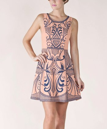 Light Salmon Paisley A-Line Sleeveless Dress