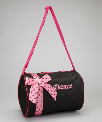 Black & Pink Polka Dot Bow 'Dance' Duffel Bag