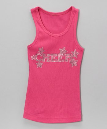 Pink 'Cheer' Star Tank - Toddler & Girls