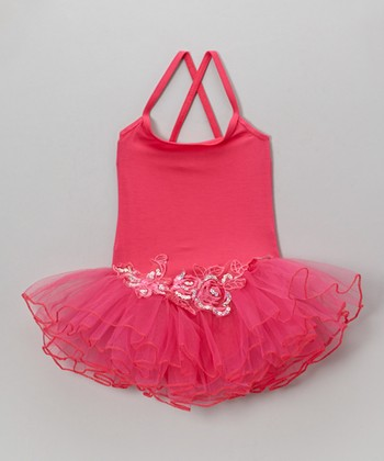 Hot Pink Sequin Rose Skirted Leotard - Toddler & Girls