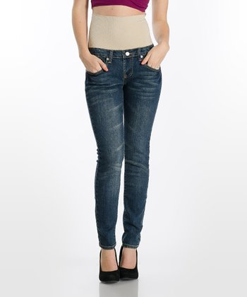 Medium Wash Tummy Trimmer Stretch Denim Skinny Jeans - Women