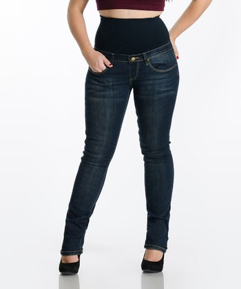 Dark Wash Tummy Trimmer Stretch Denim Straight Leg Jeans - Plus