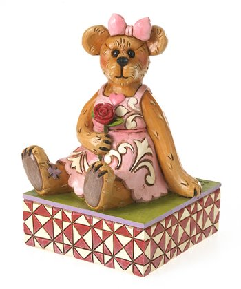 Bear Holding Rose Figurine