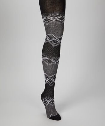 Charcoal Zigzag Fair Isle Tights