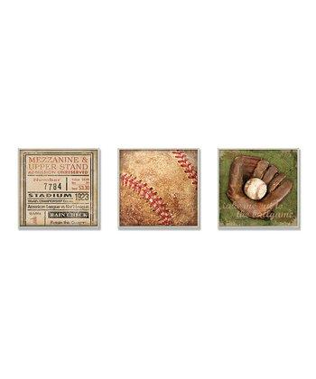 Vintage Baseball Wall Art Set