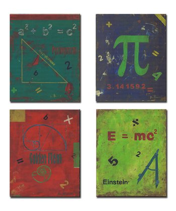 Distressed Math Symbol Wall Art Set