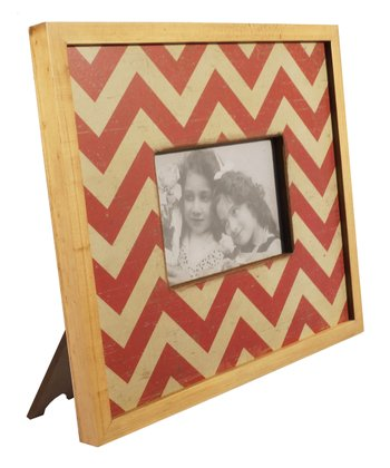 Red Zigzag Wood Frame