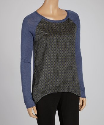 Navy Wool-Blend Raglan Top