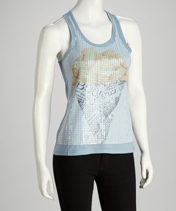 Blue French Fry Graphic Sequin Tank
